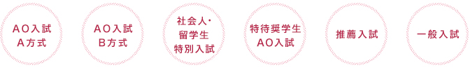 AO入試A方式、AO入試B方式、特待生AO入試、推薦入試、社会人特別AO入試、一般入試